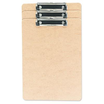 Universal® Hardboard Clipboard, 1/2  Capacity, Holds 8 1/2w x 14h, Brown, 3pk