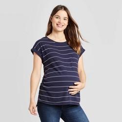 Maternity Striped Short Sleeve Round Neck Linen Like Cuff T-Shirt - Isabel Maternity by Ingrid & Isabel™ Navy/White