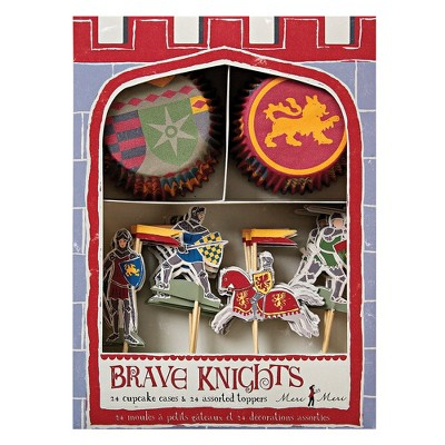 Meri Meri - Brave Knights Cupcake Set - Baking Cups - 24 cupcake liners with toppers