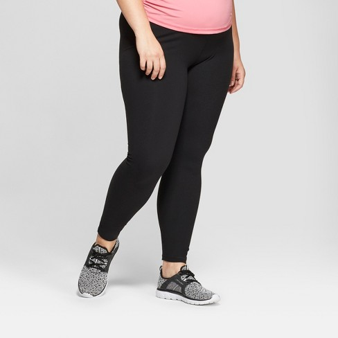 Maternity Plus Size Active Leggings with Crossover Panel - Isabel Maternity by Ingrid & Isabel™ Black - image 1 of 5