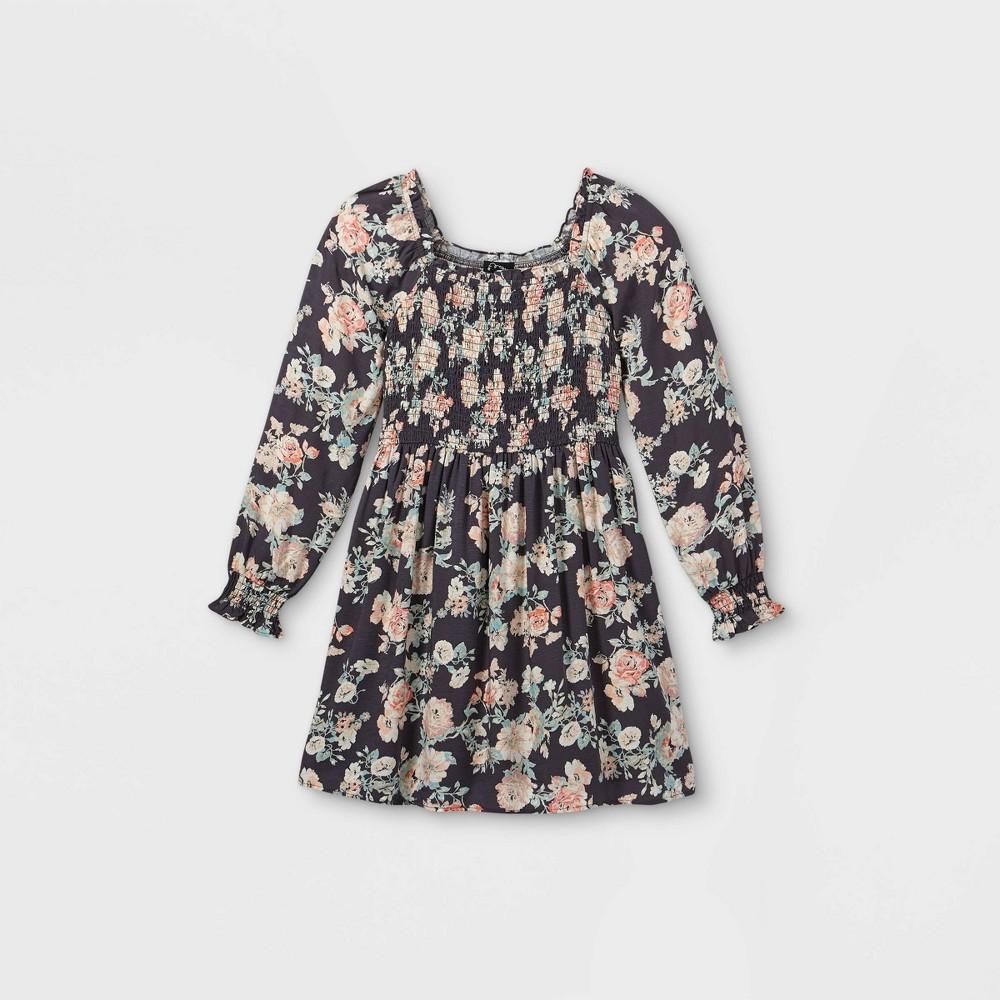 Girls 39 Square Neck Long Sleeve Smocked Dress Art Class 8482 Black M