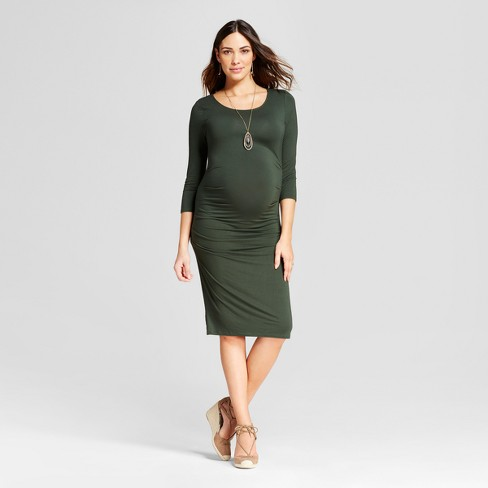 Maternity 3/4 Sleeve Pleated Dress - Isabel Maternity by Ingrid & Isabel™ Forest Green S - image 1 of 2