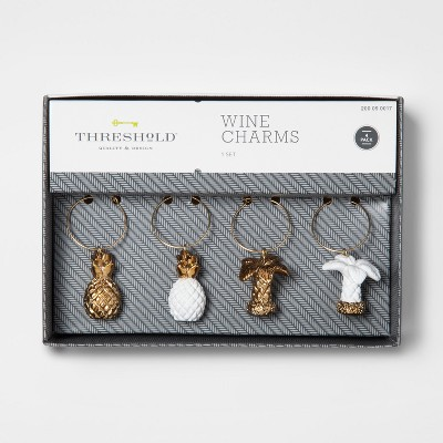 Glazed Pineapple/Palm Trees 4pc Wine Charm Set - Threshold™