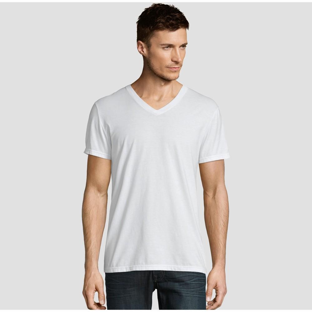 Hanes Premium Men S Short Sleeve Black Label V Neck T Shirt White 2xl