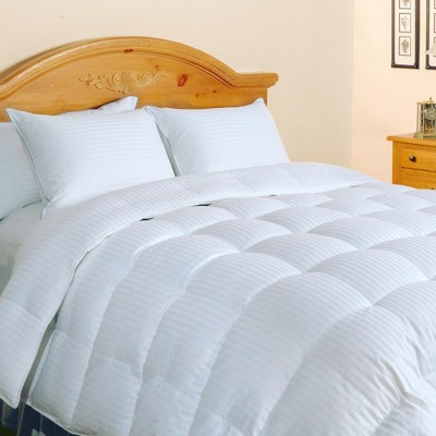 Blue Ridge 500 Thread Count Damask Stripe Silk Cotton Blend Luxurious Down Comforter 600 Fill Power White
