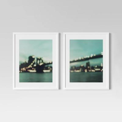 """(Set of 2)16"""" x 20"""" Brooklyn Bridge Framed Print - Project 62™"""