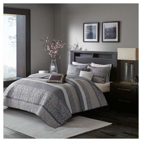 6pc Harmony Jacquard Quilt Set Gray/Taupe - image 1 of 4