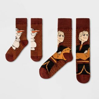 Pair of Thieves Men's Dad/Kid Disney Kristoff Frozen is Life Crew Socks - Red M