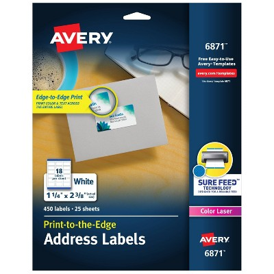 Avery 06871, Color Printing Mailing Labels, 1 1/4 x 2 3/8, White, 450/Pack