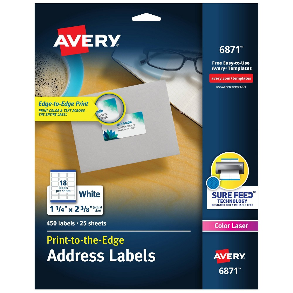 Image of Avery 06871, Color Printing Mailing Labels, 1 1/4 x 2 3/8, White, 450/Pack