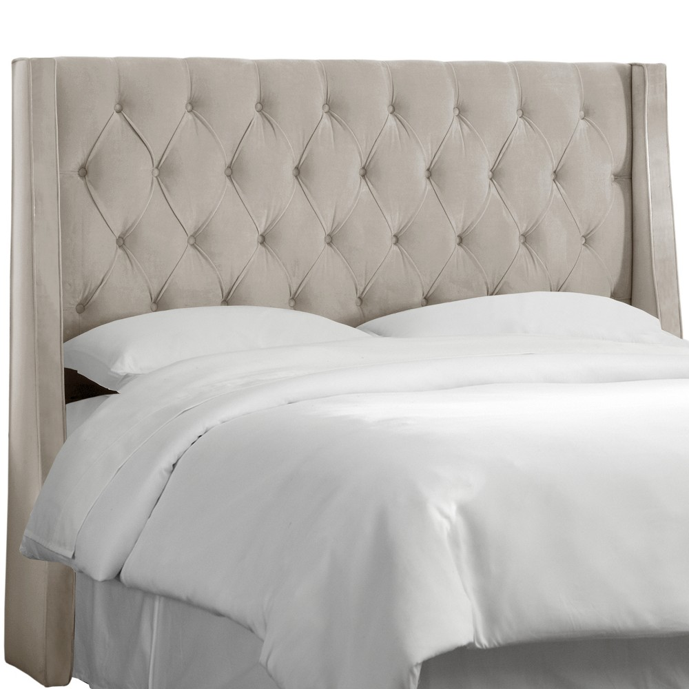 Twin Gilford Tufted Wingback Headboard Velvet Light Gray - Threshold