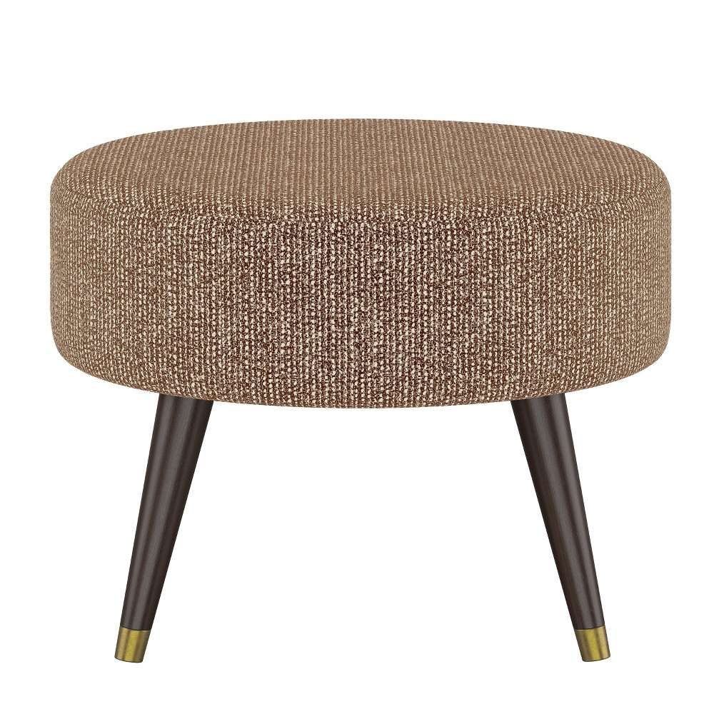 Farwell Oval Ottoman with Gold Caps Brown/Cream (Brown/Ivory) - Project 62