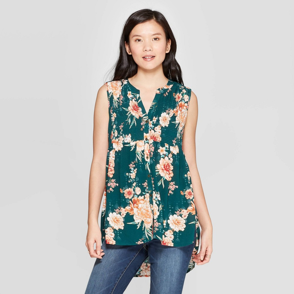 Low Price Women Floral Print Sleeveless V Neck Button Front Top With Smocking Knox Rose Green XL