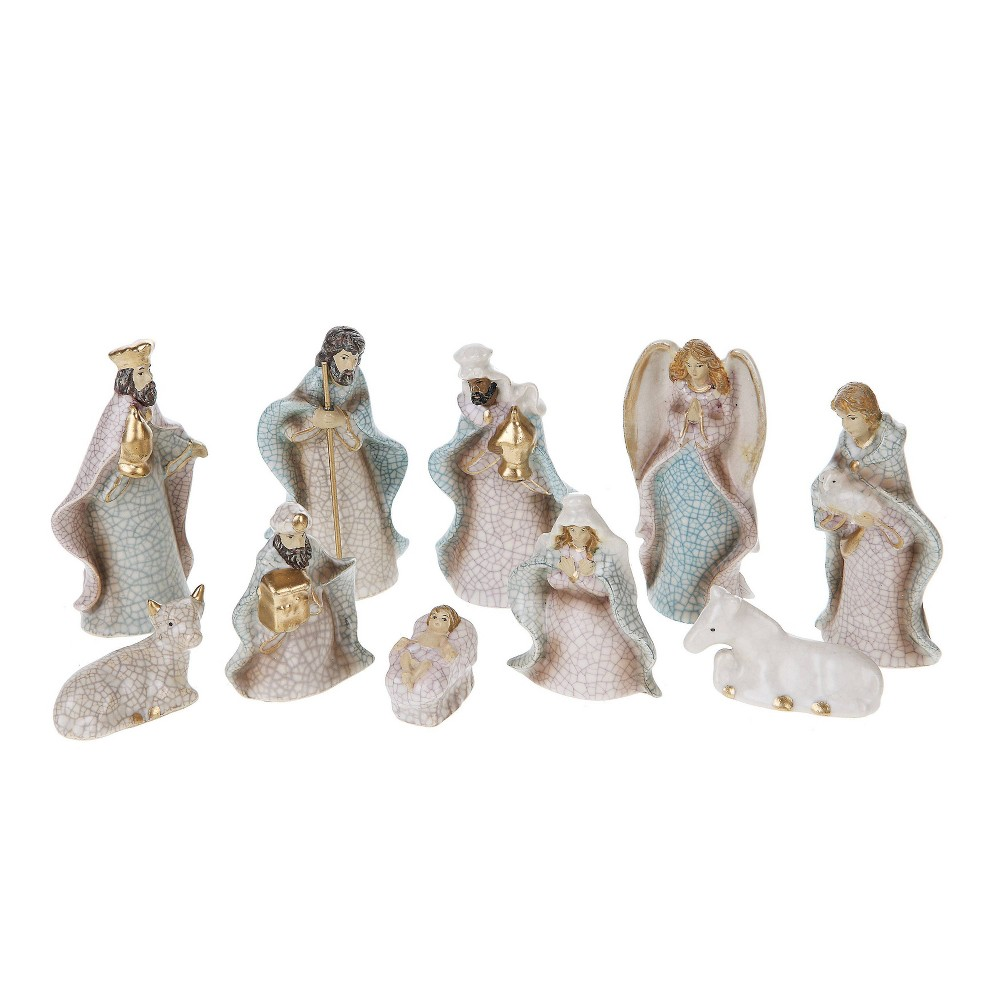 "Image of ""10pc/4"""" Stoneware Crackled Nativity - 3R Studio"""
