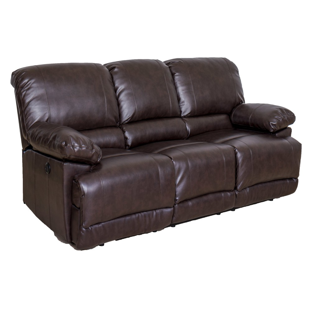 Leather Power Reclining Sofa with Usb Port Chocolate Brown - CorLiving