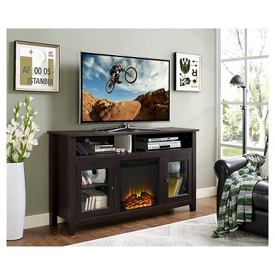 58  Wood Highboy Fireplace Media TV Stand Console - Espresso - Saracina Home
