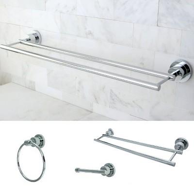 Contemporary Solid Brass Chrome 3-piece Double Towel Bar Bath Accessory Set - Kingston Brass