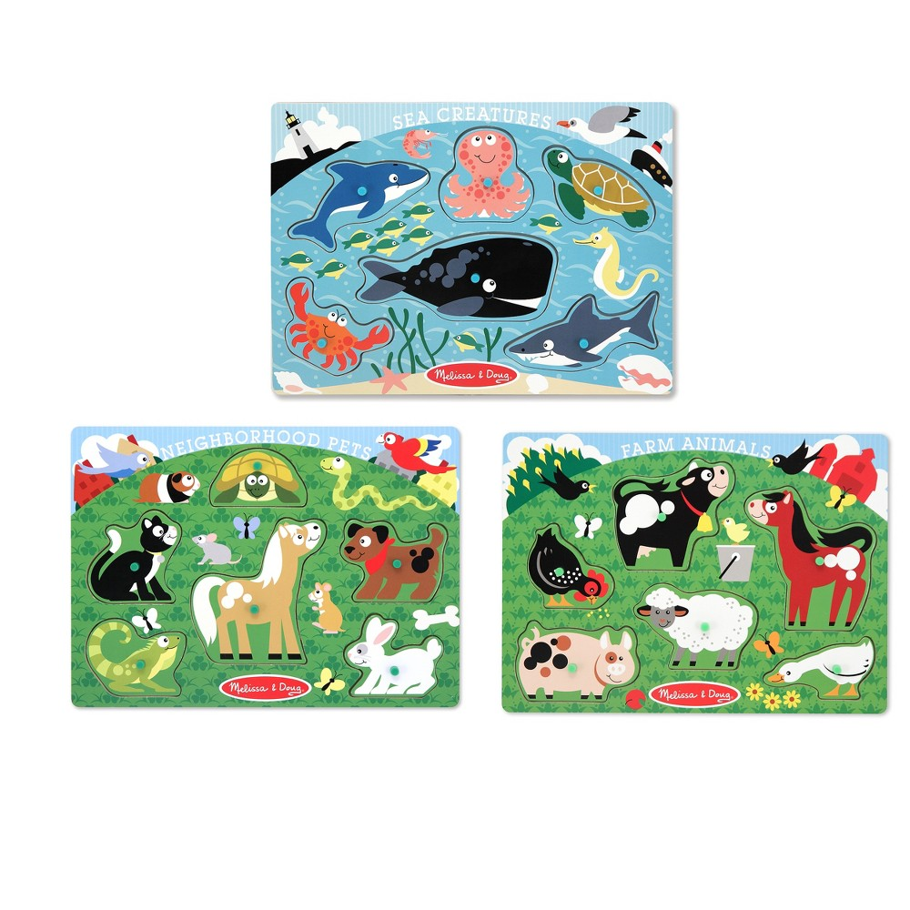Melissa & Doug Animals Wooden Peg Puzzles Set - Farm, Pets, and Ocean 18pc