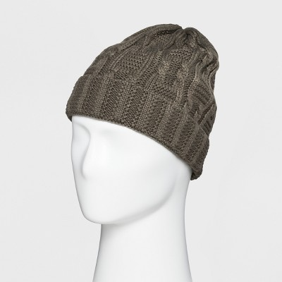 Men's Texture Knit Cuffed Beanie With Fleece Lined Taupe Beanies - Goodfellow & Co™ Taupe One Size