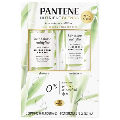 Pantene Nutrient Blends Hair Volume Multiplier with Bamboo Shampoo and Conditioner Dual Pack For Fine Hair