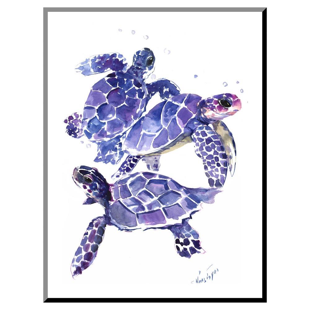 Sea Turtles Mounted Print, Purple