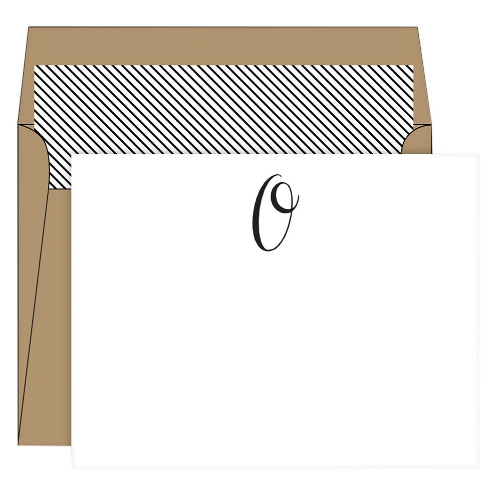 RosanneBECK Collections White Die-Cut Social Set Kraft Monogram - O