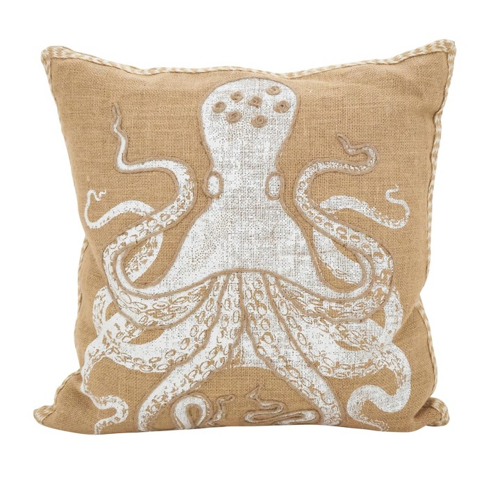 """Saro Lifestyle 20""""x20"""" Stitched Octopus Down Filled Throw Pillow Beige - image 1 of 3"""