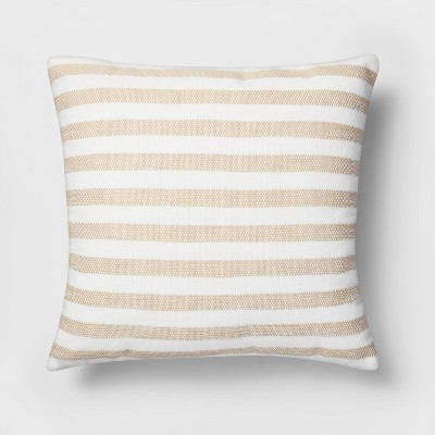 Square Woven Stripe Pillow White/Neutral - Threshold™