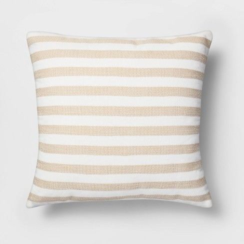 Square Woven Stripe Pillow White/Neutral - Threshold™ - image 1 of 3