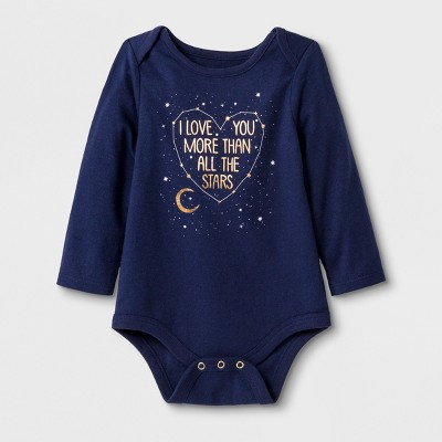 Baby Girls' Long Sleeve Love You Bodysuit Set - Cat & Jack™ Blue Newborn