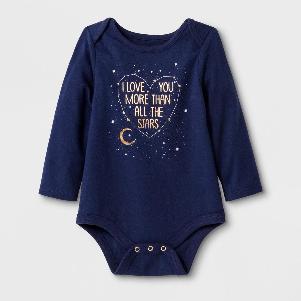 Baby Girls' Long Sleeve Love You Bodysuit Set - Cat & Jack Blue Newborn
