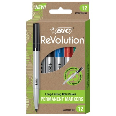 BiC 12pk Permanent Markers ReVolution