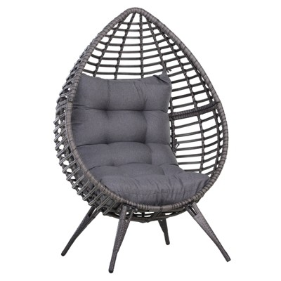 Outsunny Indoor/Outdoor Rattan Wicker Teardrop Egg Lounge Chair with Soft Cushion