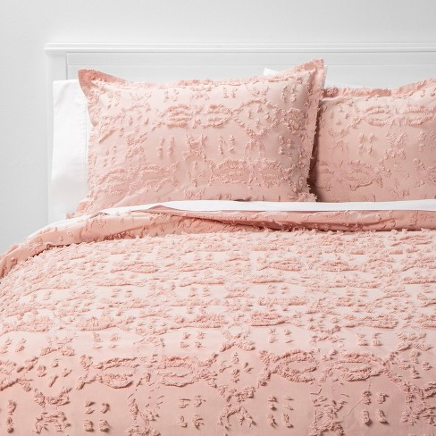 Twin/Extra Long Twin Clipped Chenille Duvet Cover & Sham Set Blush