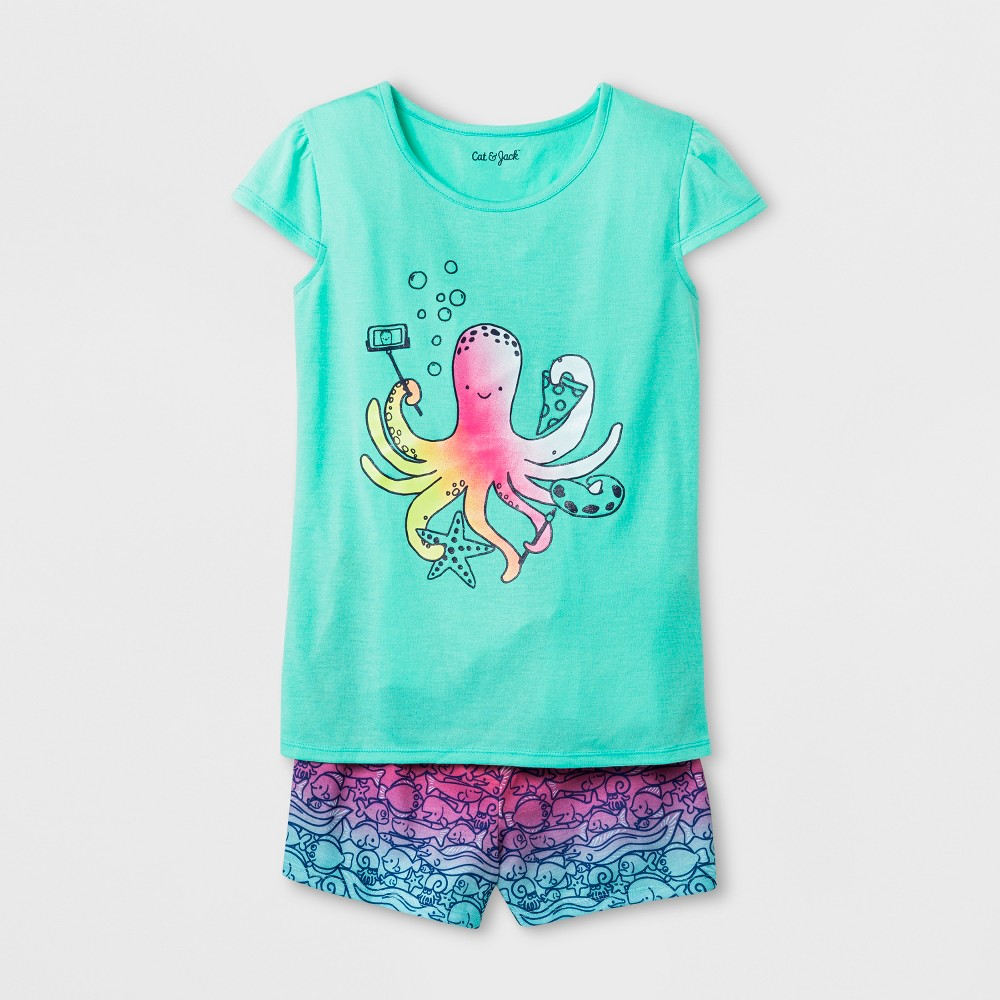 Girls' Octopus Graphic Pajama Set - Cat & Jack Blue M, Green