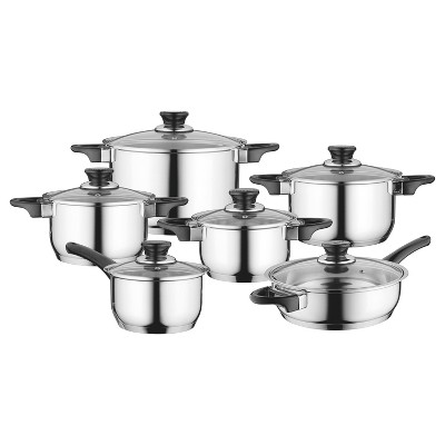 BergHOFF Essentials Gourmet 12Pc  18/10 Stainless Steel Cookware Set, Black Handles