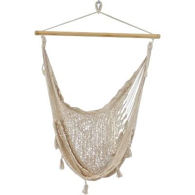 Cotton/Nylon Extra-Large Mayan Hammock Chair - Natural - Sunnydaze Decor