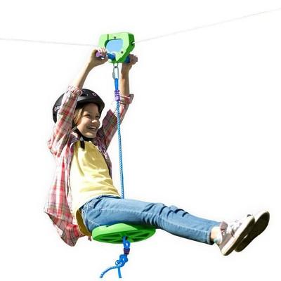 HearthSong - Backyard Zipline Kit for Kids Outdoor Play, 100' L, Green