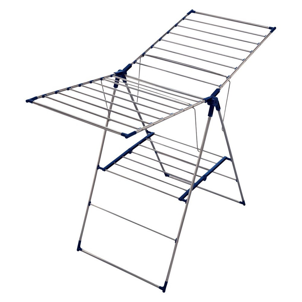 Image of Leifheit Roma 150 Stainless Steel Air-Dryer Laundry Rack- Silver/Blue, Blue Silver