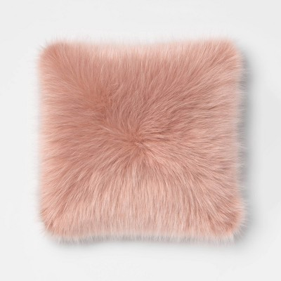 Faux Fur Oversized Square Throw Pillow Blush - Room Essentials™