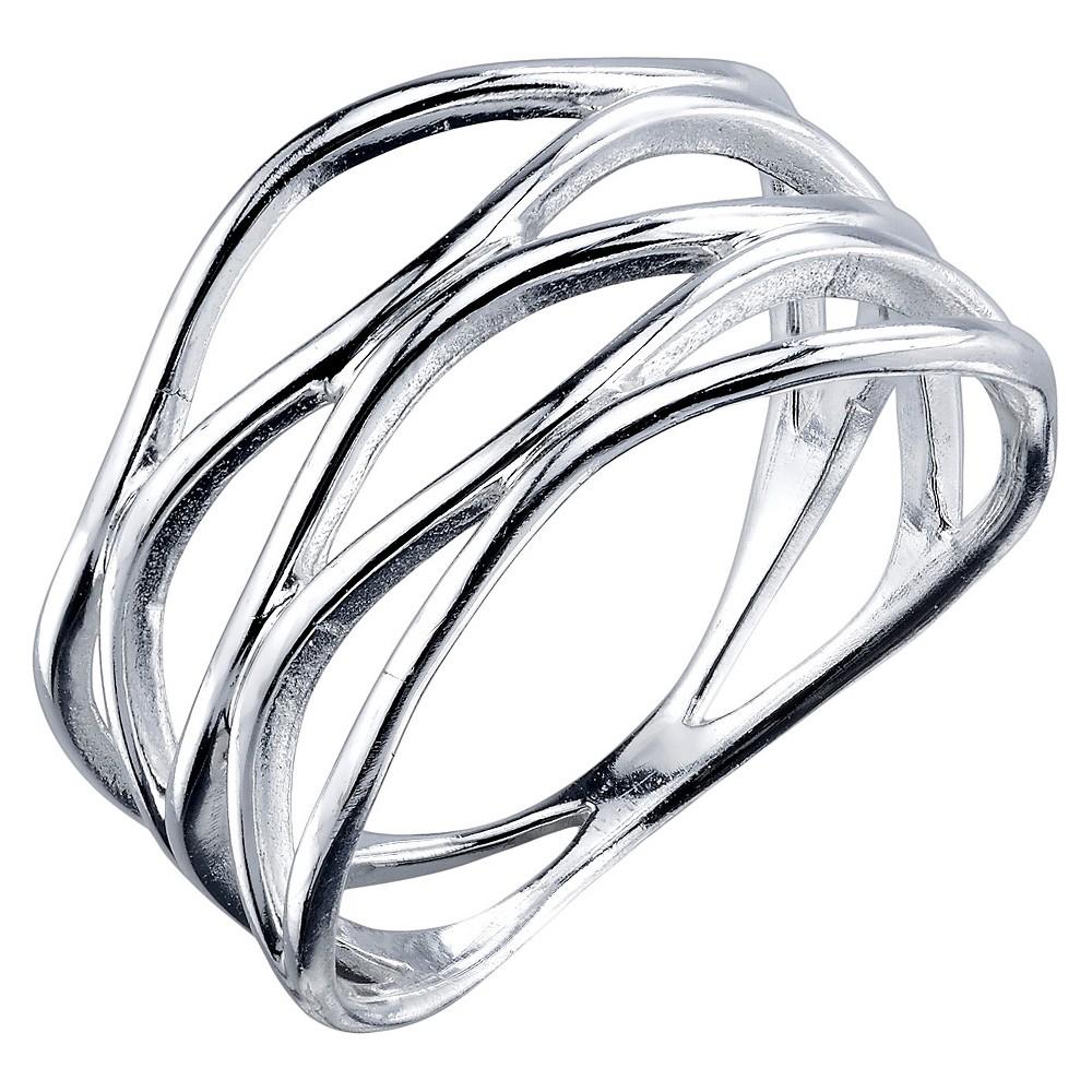 Women's Sterling Silver Polish Cross Hatch Ring - Silver