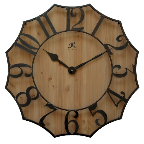 Metal On Wood Wall Clock Black/Beech - Infinity Instruments® - image 1 of 3