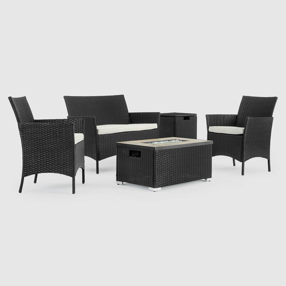 Kanab 4pc Patio Fire Seating Set - Black - Sego Lily