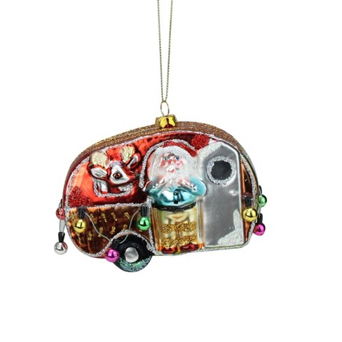 """NORTHLIGHT 4.5"""" Santa and Reindeer in Camper Trailer Glass Christmas Ornament - Red/White - image 1 of 2"""