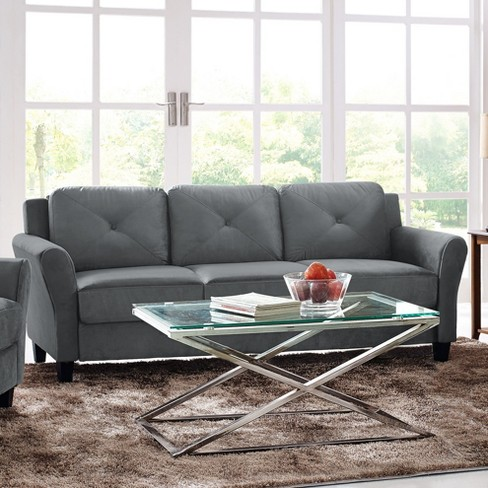 Harlow Tufted Microfiber Sofa With Rolled Arms In Dark Gray Lifestyle Solutions