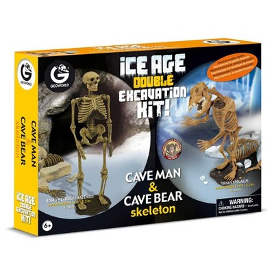 Geoworld Double Excavation Kit Ice Age - Cave Man & Cave
