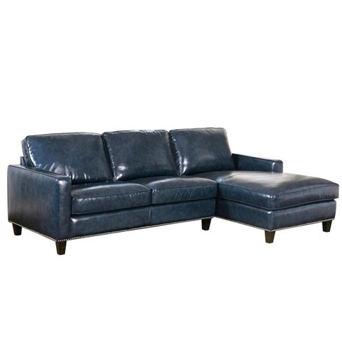 Lincoln Top Grain Leather Sectional Blue - Abbyson Living