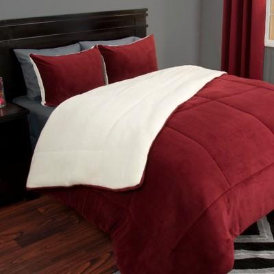 Sherpa Fleece Comforter Set (King)Burgundy 3pc - Yorkshire Home