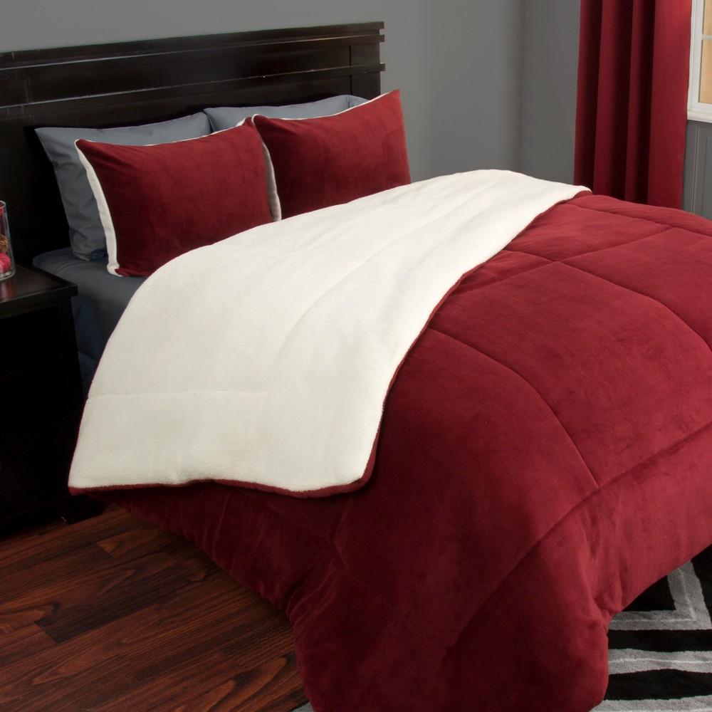 Sherpa Fleece Comforter Set King Burgundy 3pc Yorkshire Home