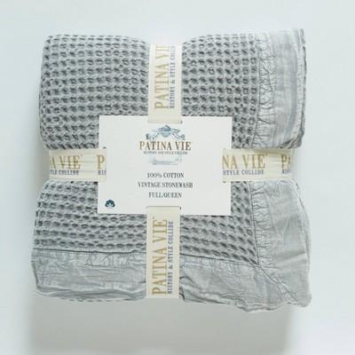 Stone Wash Waffle Weave Cotton Bed Blanket - Patina Vie